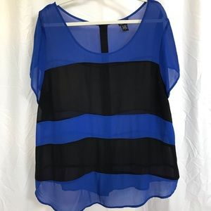 Torrid Black and Blue sheer top size 2